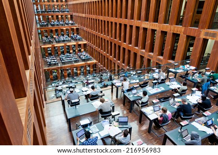 BERLIN, GERMANY - JULY 1, 2014: Humboldt University Library in Berlin. It is one of the most advanced scientific libraries in Germany - stock photo