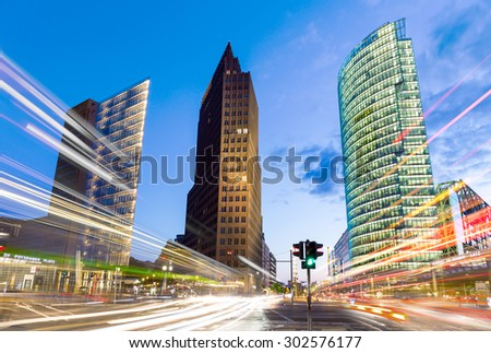 Berlin, Germany - July 31, 2015. The Potsdamer Platz is one of the most important places of Berlin. It is located in the Mitte district and is an attraction for tourists from around the world. - stock photo