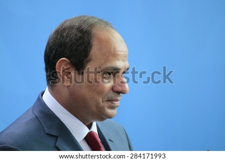 BERLIN, GERMANY - JUNE 3, 2015: Egyptian president Abdel Fattah el-Sisi at a press conference after a meeting with the German Chancellor in the Chanclery in Berlin. - stock photo