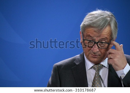 """BERLIN, GERMANY - JUNE 1, 2015: Jean-Claude Juncker at a press conference before a meeting of the """"European Round Table of Industrialists ERT"""", Chanclery. - stock photo"""