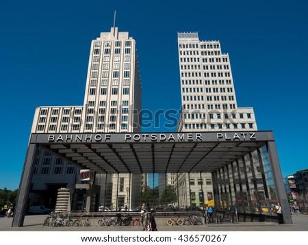 Berlin, Germany - June 6, 2016 street scene of Potsdamer Platz in the center of the german capital. - stock photo