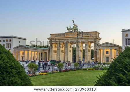 BERLIN, GERMANY - JUNE 02: The Brandenburg Gate (Brandenburger Tor) at evening  on Jun 02 2015 in Berlin - stock photo