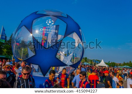 BERLIN, GERMANY - JUNE 06, 2015: Thousands of fans attend to the olimpic stadium of Berlin before the UEFA Champions League final football match between Barcelona of Spain and Juventus of Italy - stock photo