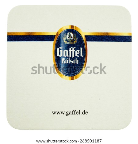 BERLIN, GERMANY - MARCH 15, 2015: Beermat of German beer Gaffel isolated over white background - stock photo