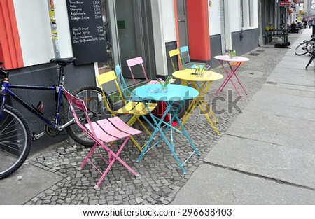 BERLIN, GERMANY - MARCH 5: Street cafe on March 5, 2015. - stock photo