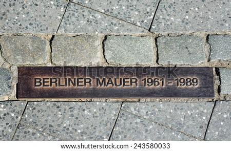 BERLIN, GERMANY - 31 MAY, 2014: Berlin wall sign on the street, Berliner Mauer in Berlin, Germany - stock photo