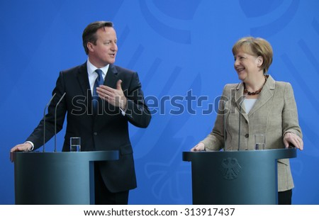 BERLIN, GERMANY - MAY 29, 2015: British Prime Minister David Cameron, German Chancellor Angela Merkel at a press conference after a meeting in the Federal Chancellery in Berlin. - stock photo