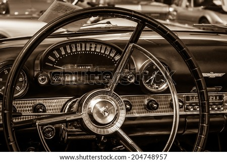 BERLIN, GERMANY - MAY 17, 2014: Cabin of the personal luxury car Ford Thunderbird (first generation). Sepia. 27th Oldtimer Day Berlin - Brandenburg  - stock photo