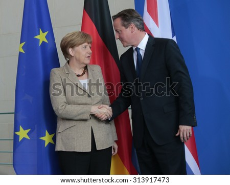 BERLIN, GERMANY - MAY 29, 2015: German Chancellor Angela Merkel, British Prime Minister David Cameron at a press conference after a meeting in the Federal Chancellery in Berlin. - stock photo