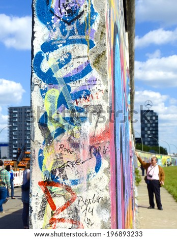 BERLIN, GERMANY-MAY 31, 2014: graffiti on the western wall that separated western and eastern Germany for 28 years, in Berlin. - stock photo
