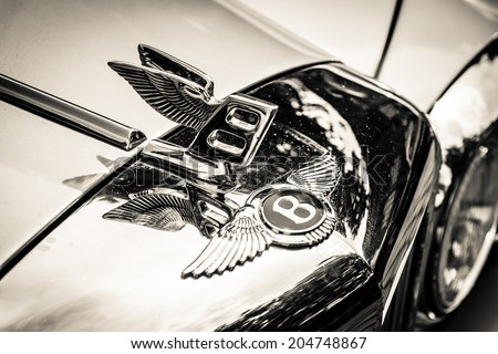 BERLIN, GERMANY - MAY 17, 2014: Hood ornament of the full-size luxury car Bentley T2. Black and white. 27th Oldtimer Day Berlin - Brandenburg  - stock photo