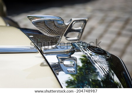BERLIN, GERMANY - MAY 17, 2014: Hood ornament of the full-size luxury car Bentley T2. 27th Oldtimer Day Berlin - Brandenburg - stock photo