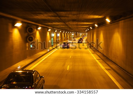 BERLIN, GERMANY - MAY 18, 2015: New Tunnel  on the autobahn roads of Germany on May 18, 2015. - stock photo