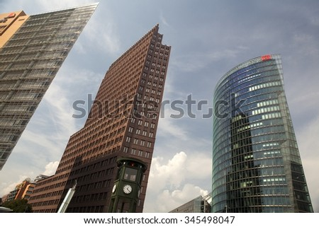 BERLIN, GERMANY - MAY 15: Potsdamer Platz in Berlin. It'san important public square and traffic intersection in the centre of Berlin. Place is characterized by modern architecture. - stock photo