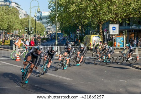 Berlin, Germany - May 13, 2016.; Tour de Berlin - the cycling race in Berlin - stock photo