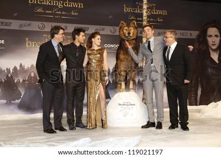 BERLIN, GERMANY - NOV 16: KRISTEN STEWART, ROBERT PATTINSON, TAYLOR LAUTNER, BILL CONDON, WYCK GODFREY at The Twilight Saga: Breaking Dawn - Part 2 - premiere in Berlin, Germany on November 16, 2012 - stock photo