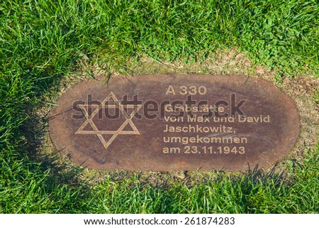Berlin, Germany, October 6: The memorial to the Jews next to the Berlin wall on October 6, 2014 in Berlin, Germany - stock photo