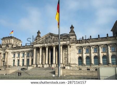 BERLIN, GERMANY -OCTOBER 13: the Reichstag building, architect Paul Wallot in Berlin, Germany on october 13, 2014 It was opened in 1894 as a Parliament of the German Empire - stock photo