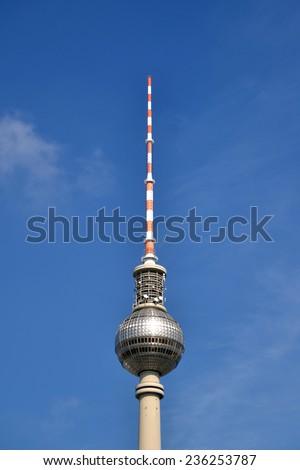 BERLIN, GERMANY - SEPTEMBER 14: Berlin Berliner Fernsehturm on SEPTEMBER 14, 2013, Berlin - stock photo