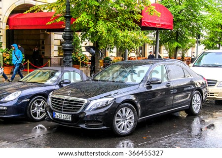 BERLIN, GERMANY - SEPTEMBER 11, 2013: Motor car Mercedes-Benz W222 S-class in the city street. - stock photo