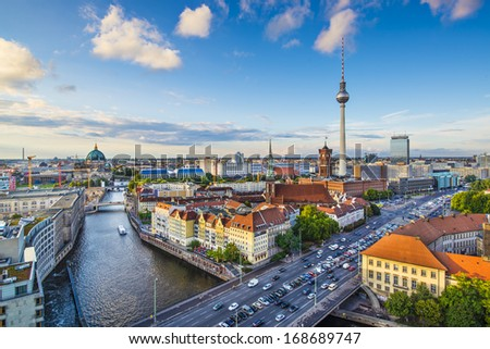 Berlin, Germany skyline over the Spree River. - stock photo