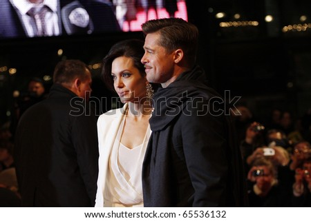 BERLIN - JANUARY 19: Angelina Jolie and Brad Pitt attends the German premiere of The Curious Case of Benjamin Button at the Sony Center CineStar on January 19 2009, Berlin - stock photo