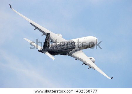 BERLIN - JUN 2, 2016: Airbus A350 XWB take off from Berlin-Schoneveld airport. - stock photo