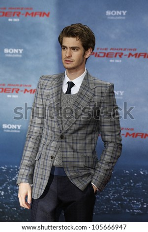 "BERLIN - JUN 20: Andrew Garfield at the premiere of ""The Amazing Spider-Man"" on June 20, 2012 in Berlin, Germany - stock photo"