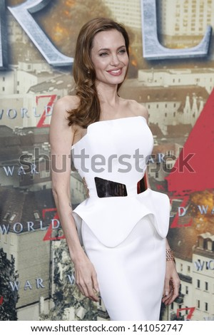 BERLIN - JUN 4: Angelina Jolie at the 'WORLD WAR Z' Premiere at Sony Center on June 4, 2013 in Berlin, Germany - stock photo