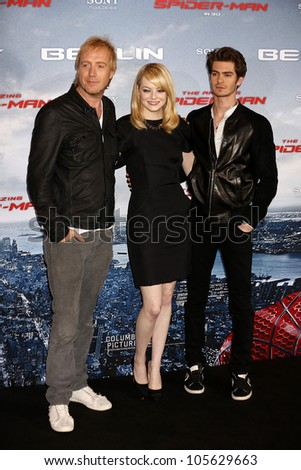 "BERLIN - JUN 20: Rhys Ifans, Andrew Garfield, Emma Stone at the photo call for ""The Amazing Spider-Man"" on June 20, 2012 in Berlin, Germany - stock photo"