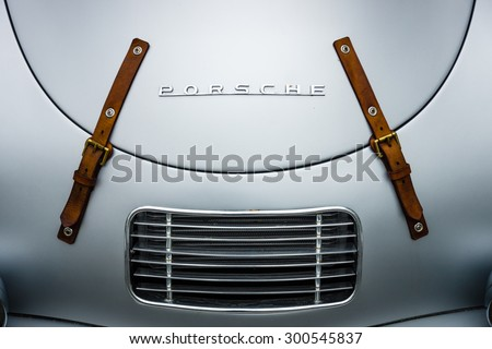 BERLIN - JUNE 14, 2015: Air vents of the engine compartment of a sports car Porsche 356 Speedster. The Classic Days on Kurfuerstendamm. - stock photo