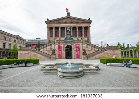 BERLIN - JUNE 3, 2013: Alte Nationalgalerie Museum building. The National Gallery was founded in 1861, after banker Johann Heinrich Wagener donated 262 paintings by both German and foreign artists. - stock photo