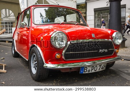BERLIN - JUNE 14, 2015: Compact car Innocenti Mini Cooper 1300. The Classic Days on Kurfuerstendamm. - stock photo