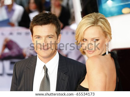 BERLIN - JUNE 17: Jason Bateman and Charlize Theron attends the germany premiere of the movie Hancock at the CineStar cinema. June 17 2008, Berlin - stock photo