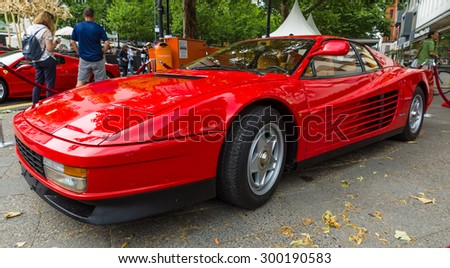 BERLIN - JUNE 14, 2015: Sports car Ferrari Testarossa (Type F110). The Classic Days on Kurfuerstendamm. - stock photo