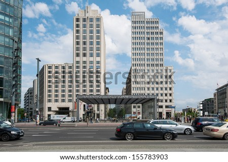 BERLIN - JUNE 3: Traffic in front of Potsdamer Platz station on 3 June 2013 in Berlin, Germany. The Berlin U-Bahn is the most extensive underground network in Germany with a system length of 146 km.  - stock photo