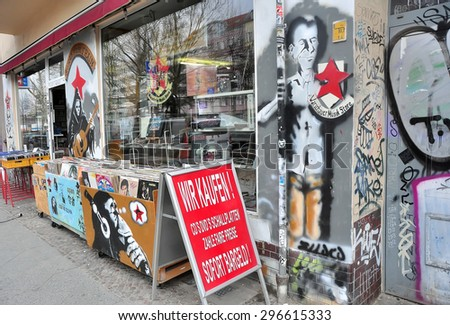 BERLIN MARCH 5: Showcase of the antique shop on the Warschauer StraÃ?e on March 5, 2015. - stock photo
