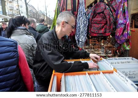 BERLIN - March 1st: BOXAGENGER PLATZ  (flea market) on March 1 2015 in Berlin, Germany. - stock photo