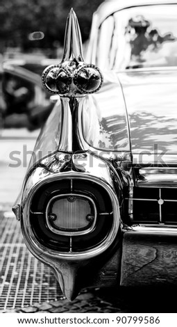 "BERLIN - MAY 28: Cars Cadillac Eldorado, a fragment (black and white), the exhibition ""125 car history - 125 years of history Kurfurstendamm"", May 28, 2011 in Berlin, Germany - stock photo"