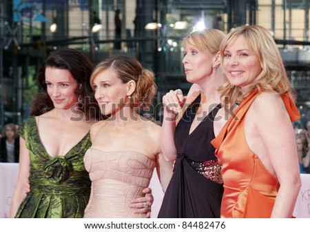 BERLIN - MAY 15: Kristin Davis, Sarah Jessica Parker, Cynthia Nixon and Kim Catrall attend the German premiere of 'Sex And The City' at the Cinestar movie on May 15, 2008 in Berlin, Germany. - stock photo