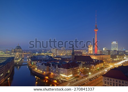 Berlin Mitte Skyline at evening, Berlin, Germany, Europe - stock photo