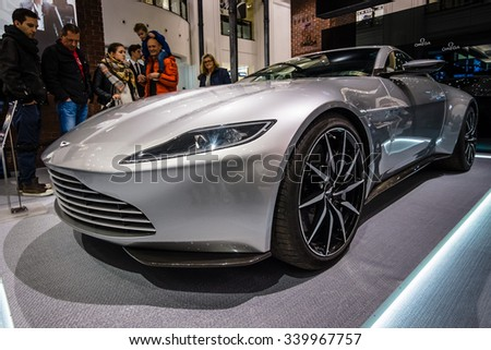 """BERLIN - OCTOBER 26, 2015: Grand tourer Aston Martin DB10. The exhibition in the trading house KaDeWe as part of a promotional tour of the new film about James Bond """"Spectre"""" - stock photo"""