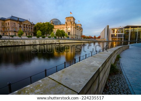 BERLIN - OCTOBER 08 2014. Spree river and German Parliament in Morning on October 08, 2014, Berlin, Germany. - stock photo