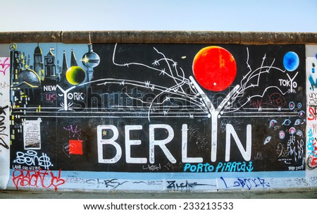 BERLIN - OCTOBER 4, 2014: The Berlin wall with grafitti on October 4, 2014 in Berlin, Germany. It was a barrier existed in 1961-89 to completely cut off West Berlin from surrounding East Germany. - stock photo