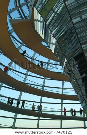 Berlin Reichstag, inside the glass dome 02 - stock photo