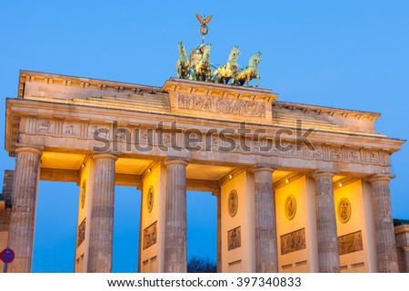 Berlin's Brandenburg Gate (Brandenburger Tor) at dusk - stock photo