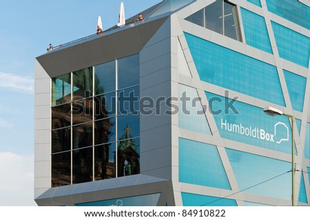 BERLIN - SEPTEMBER 17: Exhibition building Humboldt-Box on September 17, 2011 in Berlin. Humboldt-Box is a temporary exhibition and event building at Museum Island in Central Berlin. - stock photo