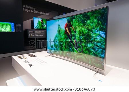 BERLIN - SEPTEMBER 04, 2015: Stand of Panasonic. Panasonic announced new OLED TVs. International radio exhibition Berlin (IFA2015). - stock photo