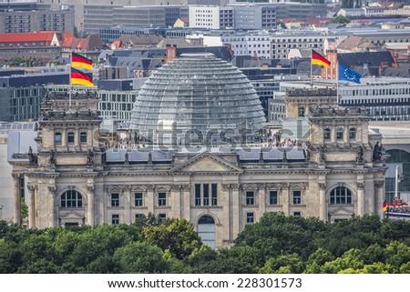 Berlin Skyline City Panorama with blue sky. Berlin, Germany, Europe. - stock photo