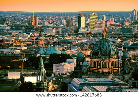 berlin skyline with potsdamer platz and dome - stock photo